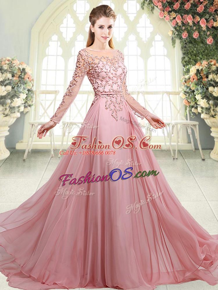 Sweep Train Empire Prom Dress Pink Scoop Chiffon Long Sleeves Zipper
