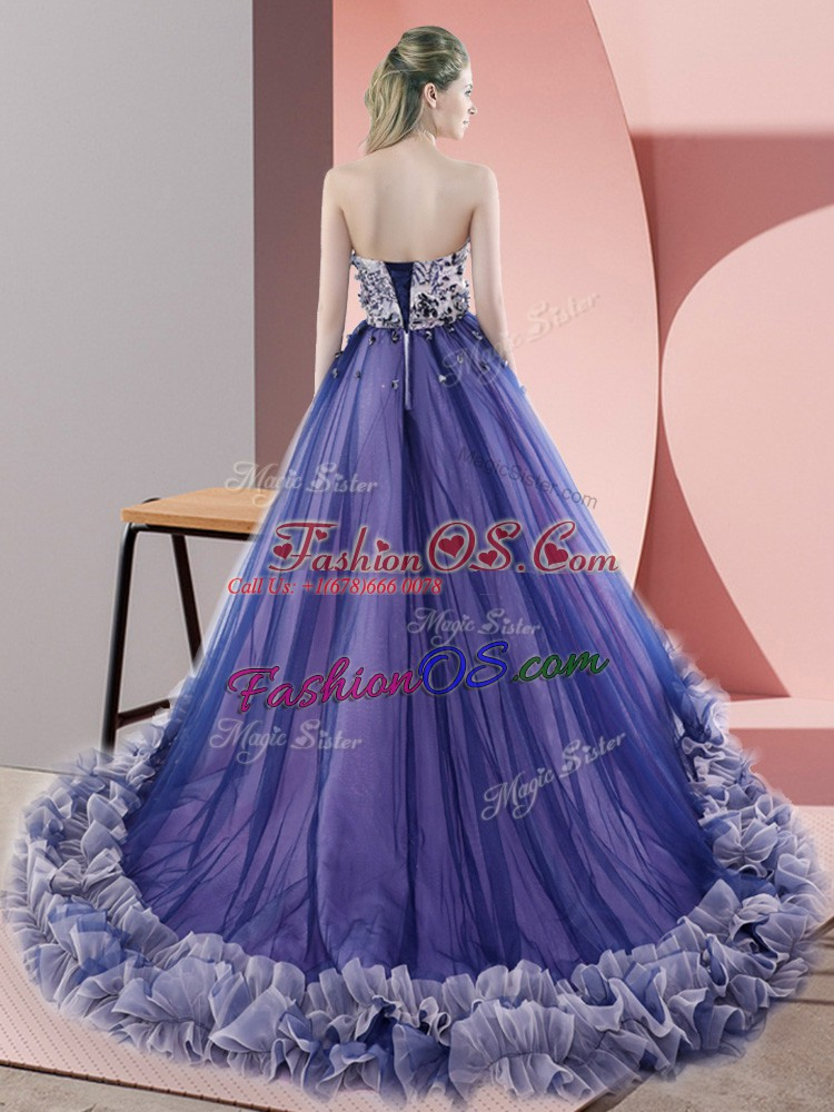 Best Tulle Sweetheart Sleeveless Sweep Train Lace Up Beading and Appliques in Olive Green