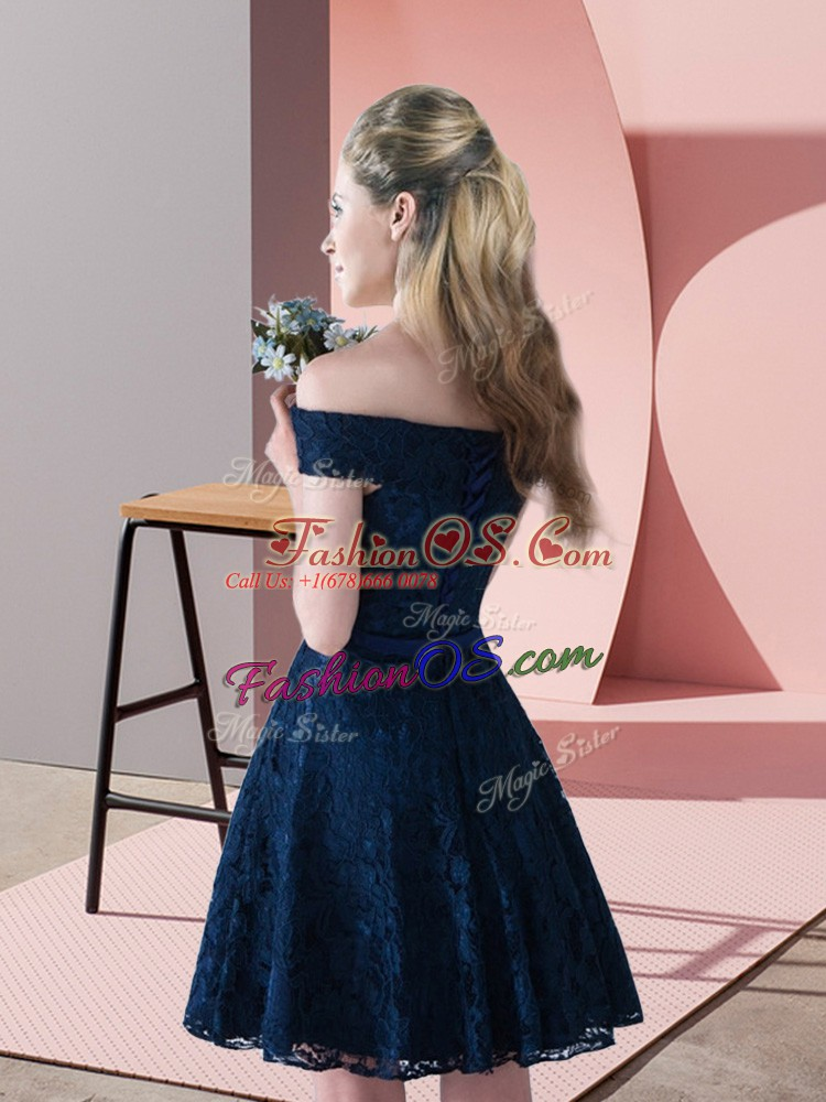 Off The Shoulder Sleeveless Lace Up Prom Gown Navy Blue