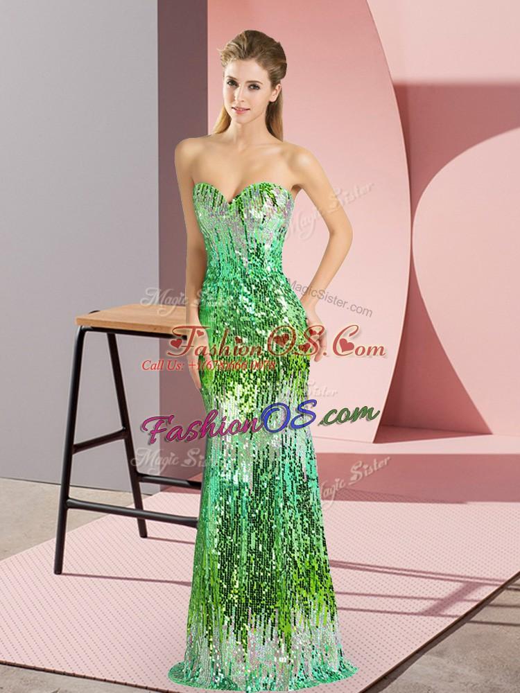 Multi-color Sleeveless Sequins Floor Length Evening Dress