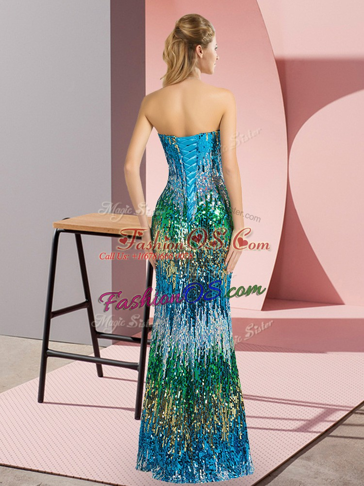 Multi-color Sleeveless Sequins Floor Length Evening Dress