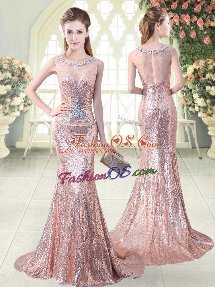 Traditional Scoop Sleeveless Prom Gown Brush Train Beading Pink Sequined