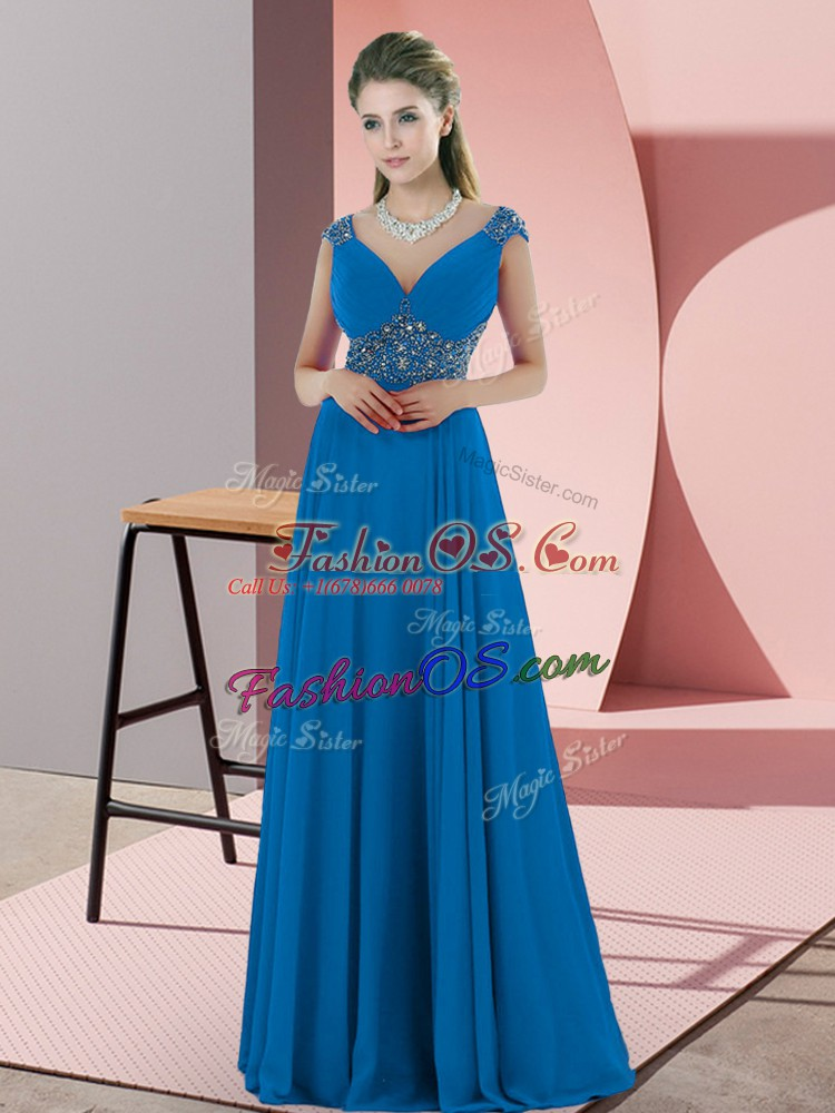 Most Popular Blue V-neck Sleeveless Sweep Train Backless