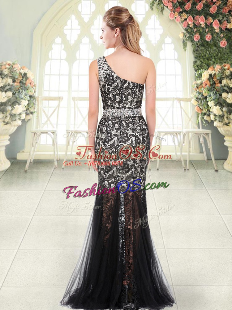 One Shoulder Sleeveless Tulle Prom Party Dress Beading and Lace Zipper