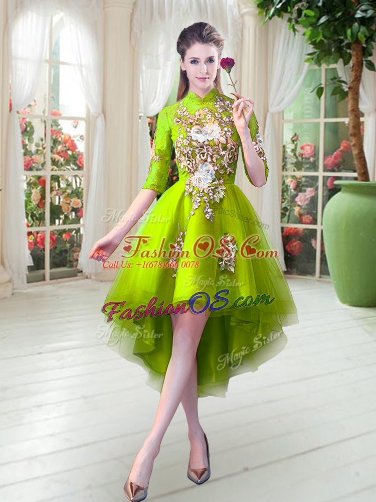Beautiful High-neck Half Sleeves Zipper Prom Evening Gown Yellow Green Tulle