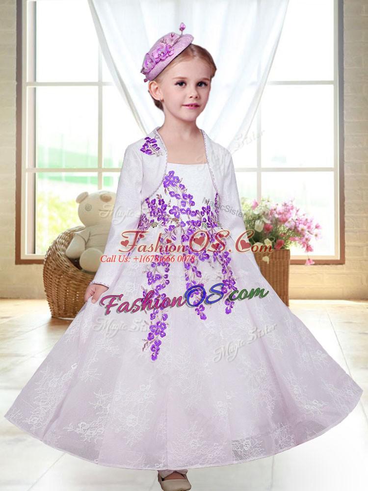 White Sleeveless Lace Zipper Flower Girl Dresses for Less for Wedding Party
