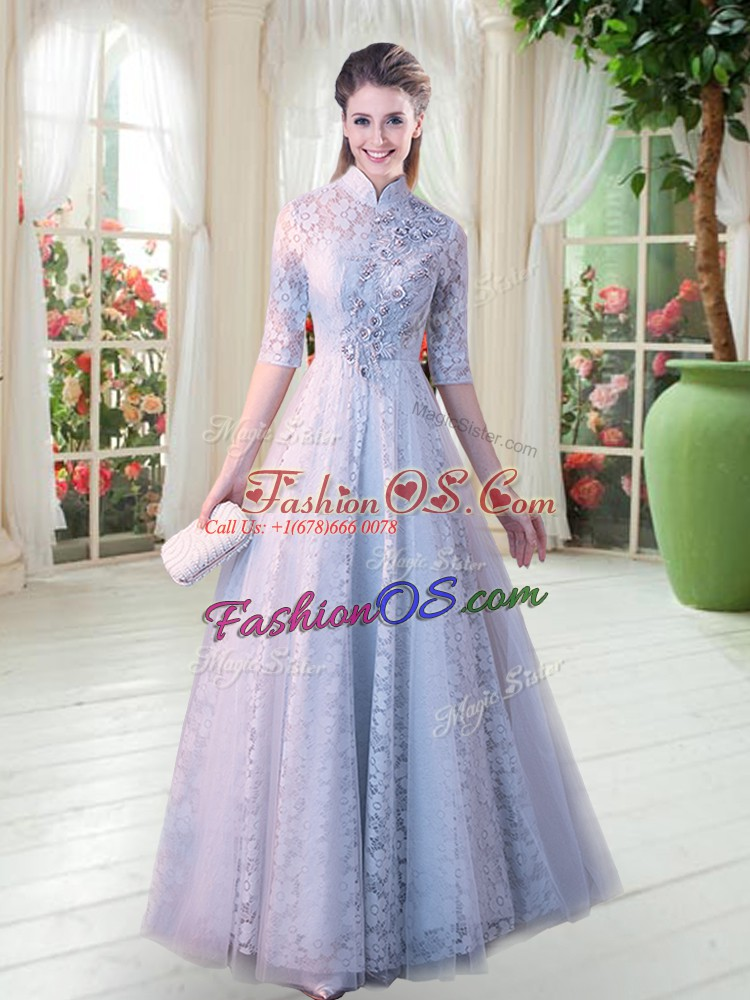 Grey A-line Lace High-neck Half Sleeves Beading Floor Length Zipper Prom Evening Gown