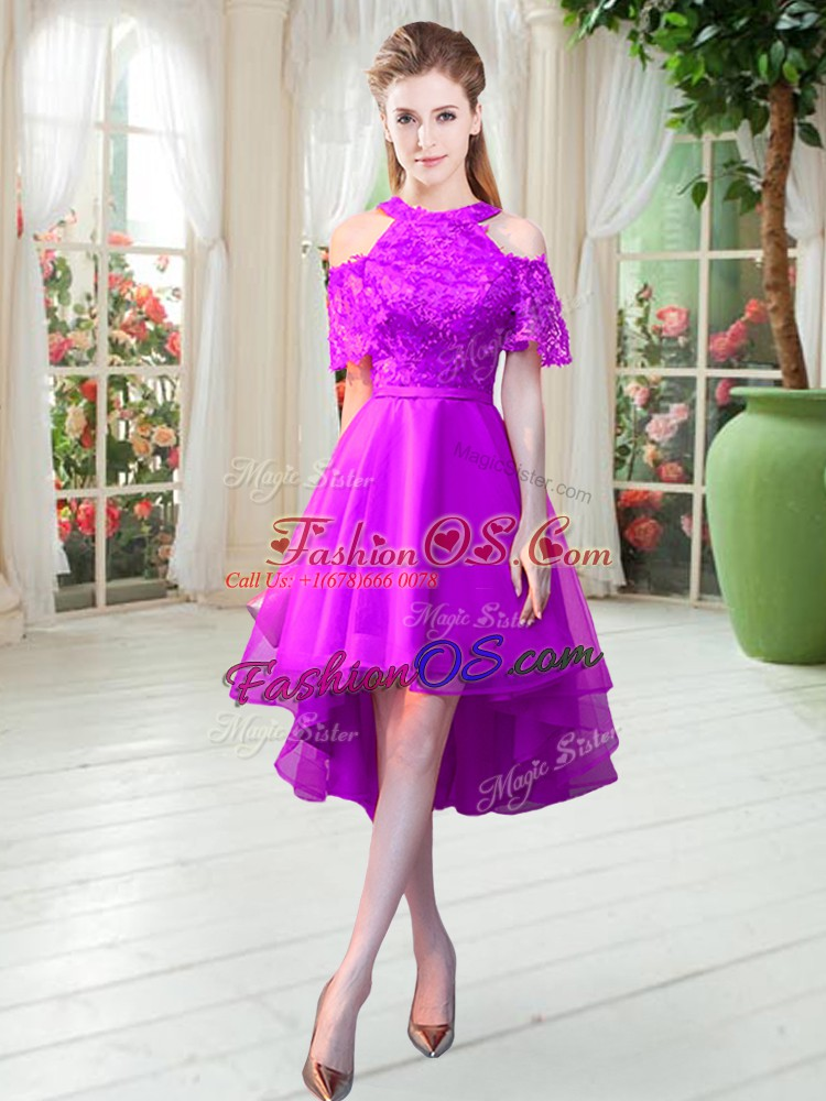 Sweet High Low Purple Prom Dress High-neck Short Sleeves Zipper