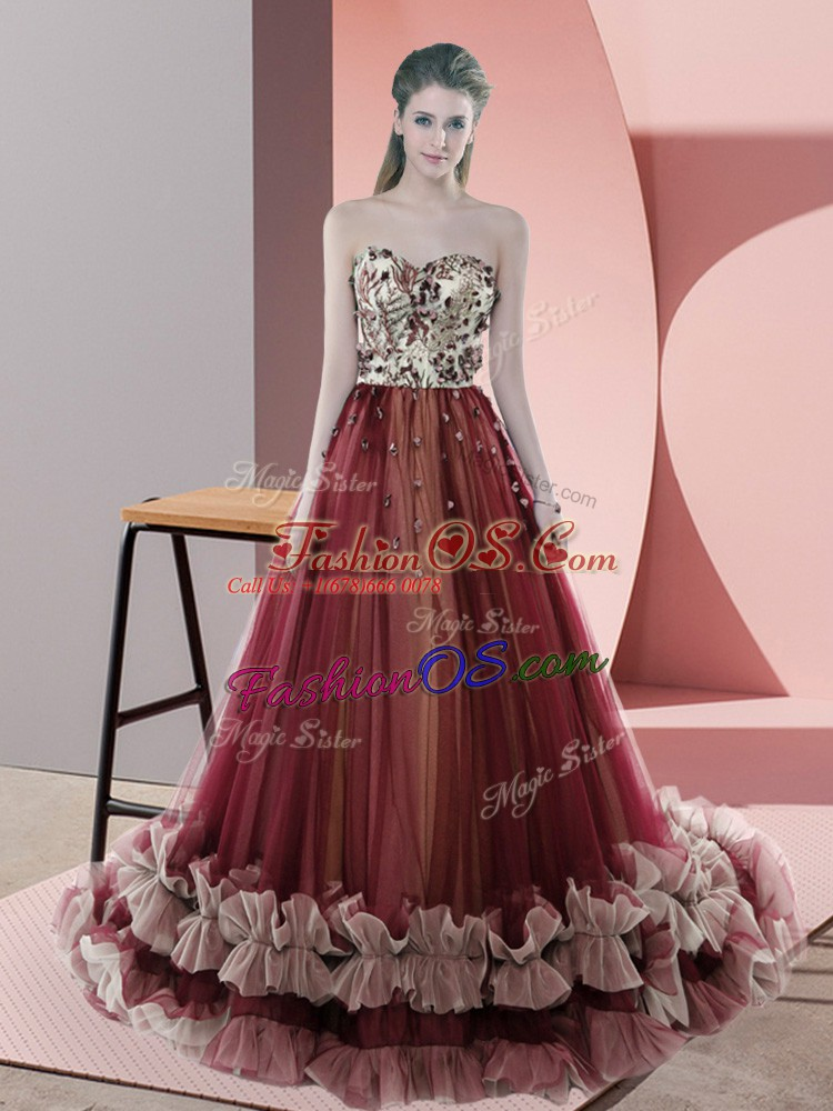 Fitting Sweetheart Sleeveless Sweep Train Lace Up Dress for Prom Red Tulle
