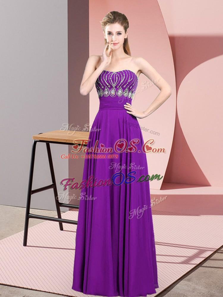 Custom Fit Floor Length Purple Prom Dresses Strapless Sleeveless Zipper