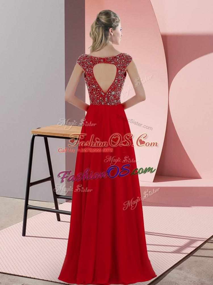 V-neck Sleeveless Satin Prom Party Dress Beading Backless