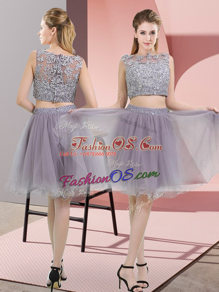 Graceful Two Pieces Prom Evening Gown Grey High-neck Tulle Sleeveless Zipper