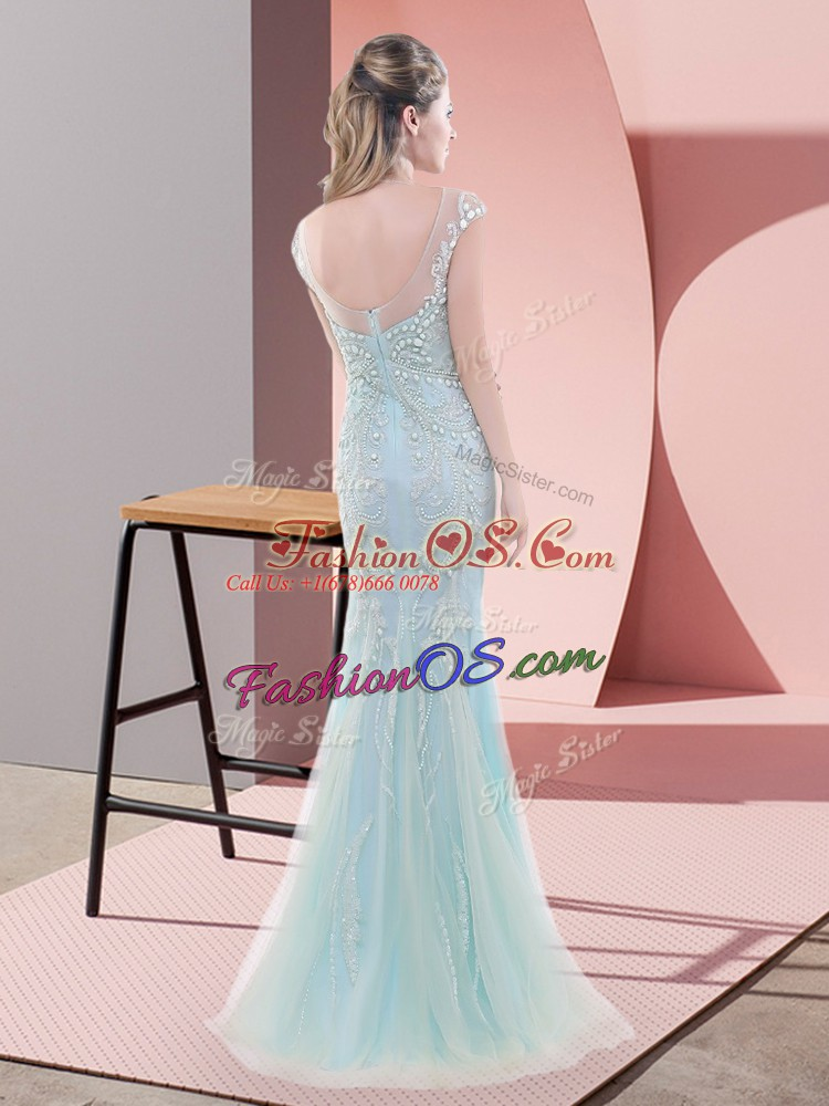 Mermaid Evening Dress Blue Scoop Tulle Cap Sleeves Floor Length Zipper