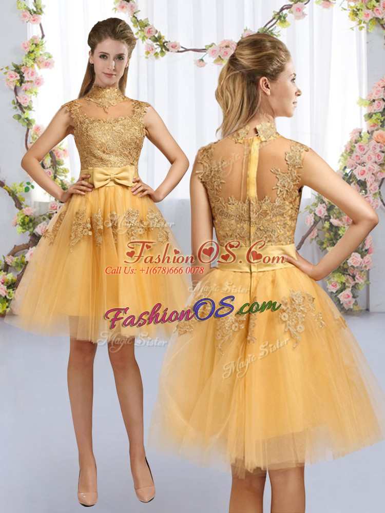 Gold High-neck Zipper Lace and Bowknot Quinceanera Court of Honor Dress Cap Sleeves