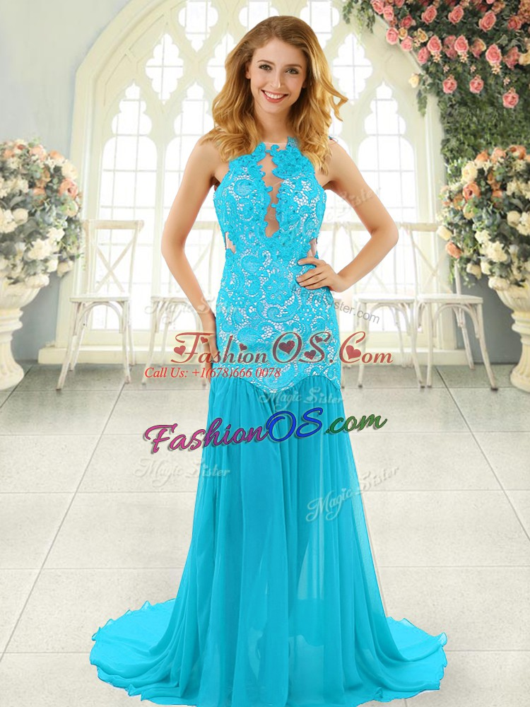 Artistic Sleeveless Brush Train Lace Backless Homecoming Dress
