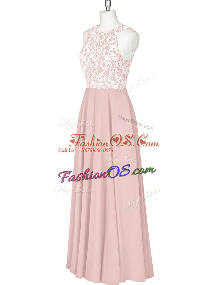 Exquisite Floor Length Column/Sheath Sleeveless Pink Prom Party Dress Zipper