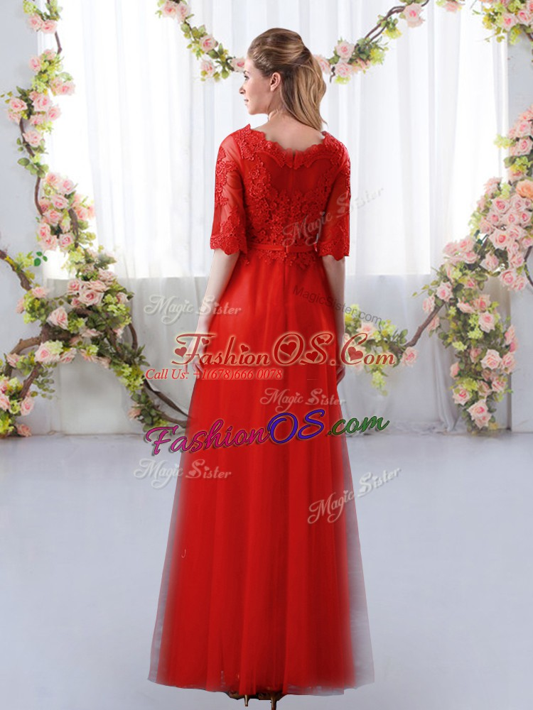 Red Scalloped Neckline Lace Bridesmaids Dress Half Sleeves Zipper