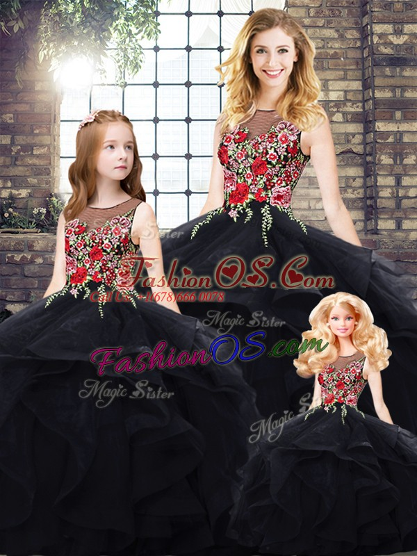 Pretty Sleeveless Floor Length Beading and Embroidery Lace Up Sweet 16 Dress with Black