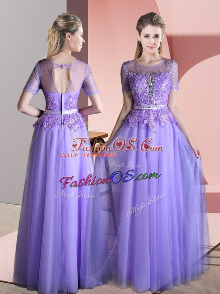 Fashion Floor Length Lavender Prom Evening Gown Tulle Short Sleeves Beading and Lace