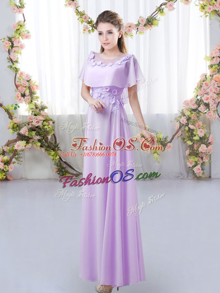 Hot Sale Lavender Scoop Neckline Appliques Quinceanera Dama Dress Short Sleeves Zipper