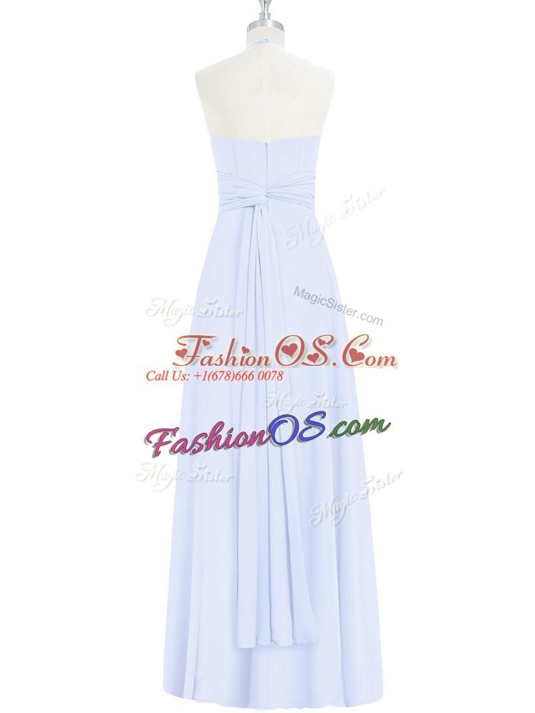 New Arrival Halter Top Sleeveless Zipper Prom Party Dress Baby Blue Chiffon