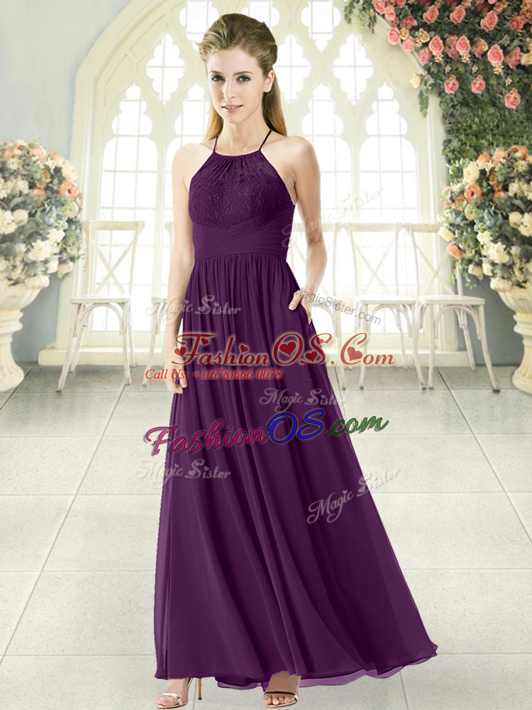Purple Chiffon Backless Halter Top Sleeveless Ankle Length Evening Dress Lace