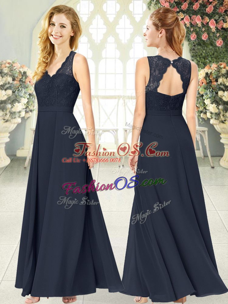 Black Empire V-neck Sleeveless Chiffon Ankle Length Zipper Lace Prom Dresses