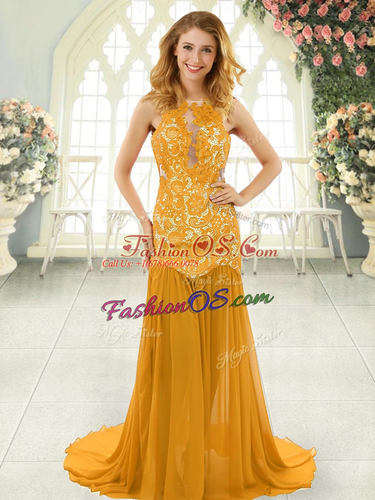 Chiffon Sleeveless Homecoming Dress Brush Train and Lace