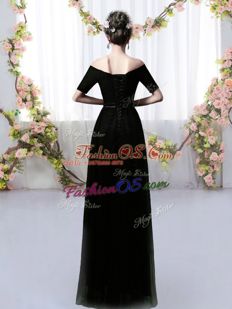 Popular Floor Length Black Vestidos de Damas Off The Shoulder Short Sleeves Lace Up