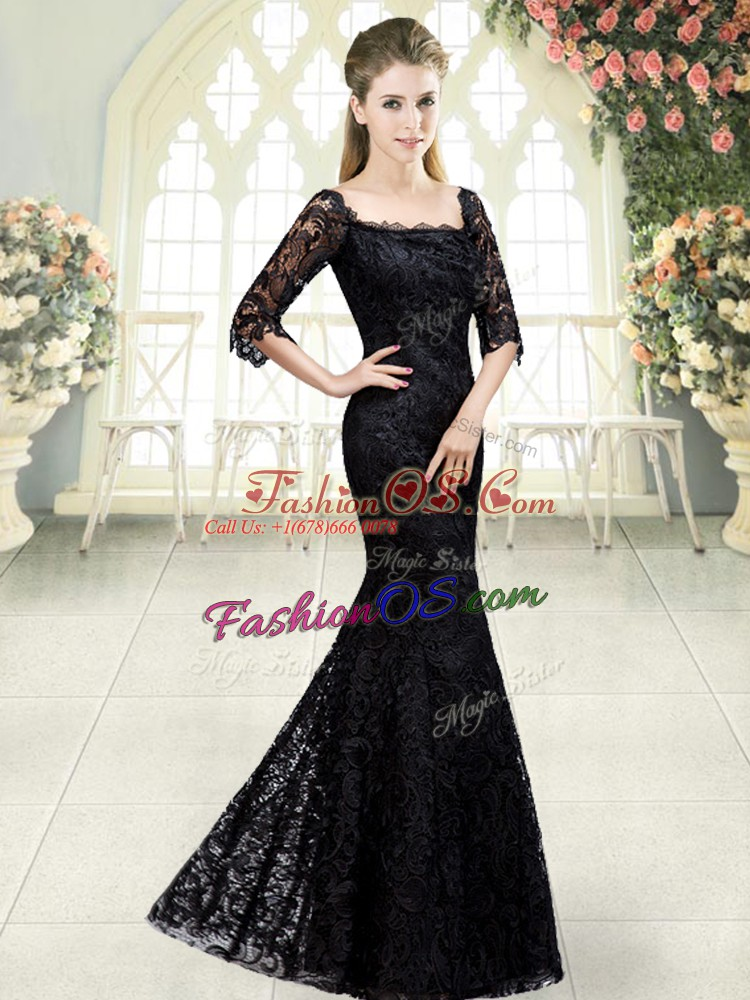 Artistic Black Organza Lace Up Homecoming Dress Half Sleeves Sweep Train Beading and Lace