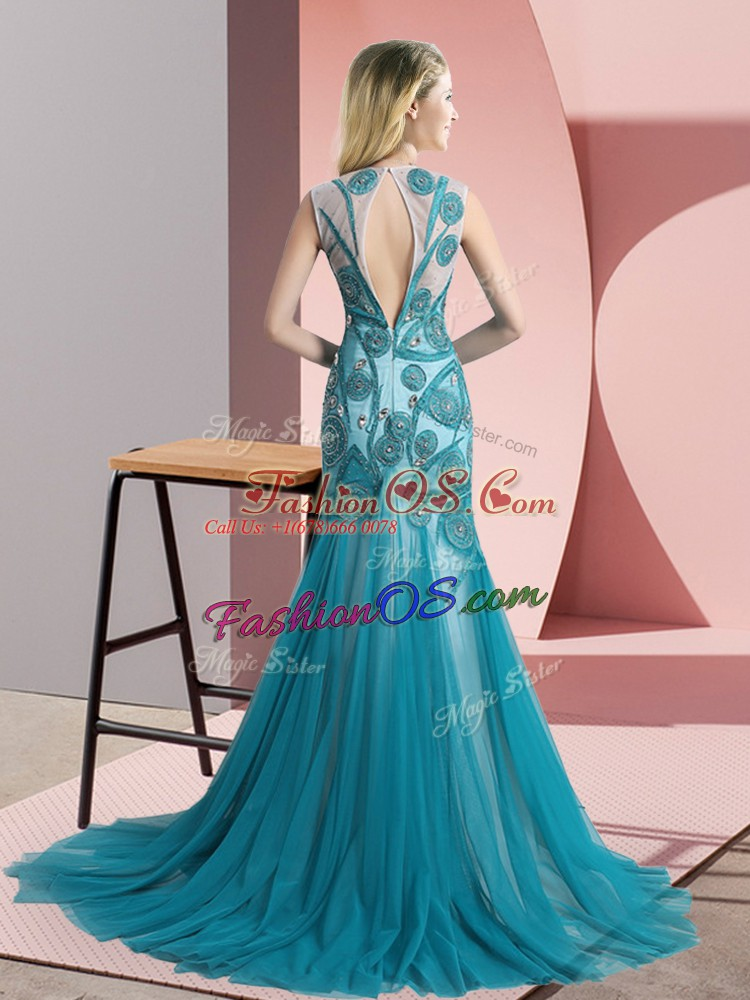 Beauteous Tulle Scoop Sleeveless Brush Train Backless Beading and Appliques in Royal Blue