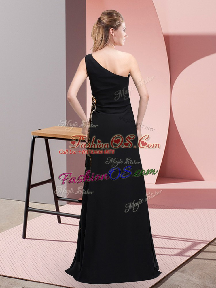 Flare Black Column/Sheath Chiffon One Shoulder Sleeveless Beading Floor Length Side Zipper Evening Dress