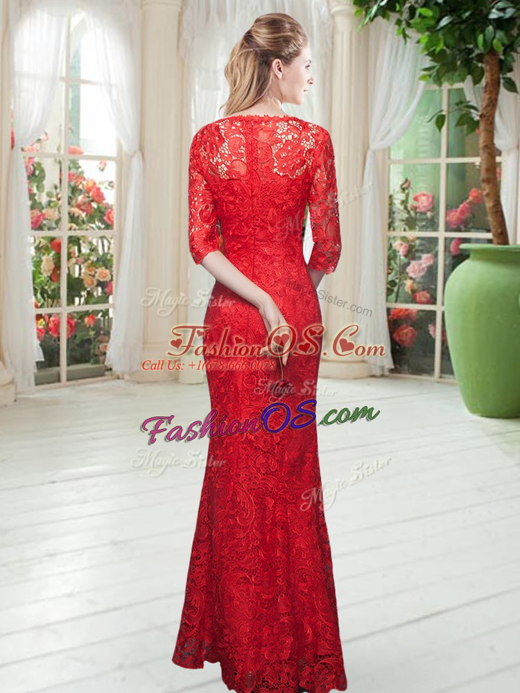 Beauteous Orange Scoop Zipper Lace Prom Evening Gown Half Sleeves