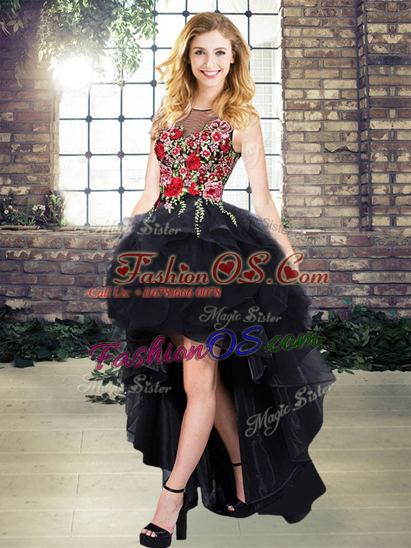 Customized Scoop Sleeveless Lace Up Homecoming Dress Black Organza