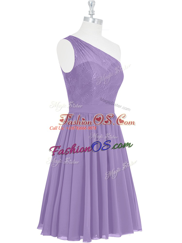 Lavender A-line One Shoulder Sleeveless Lace Knee Length Side Zipper Prom Dress