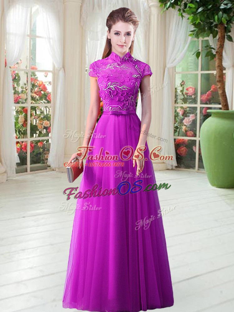 Suitable High-neck Cap Sleeves Tulle Prom Dresses Appliques and Belt Lace Up