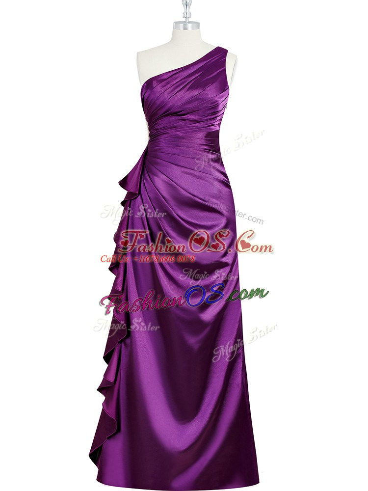 Purple Elastic Woven Satin Side Zipper Evening Dress Sleeveless Floor Length Beading and Ruching and Pleated