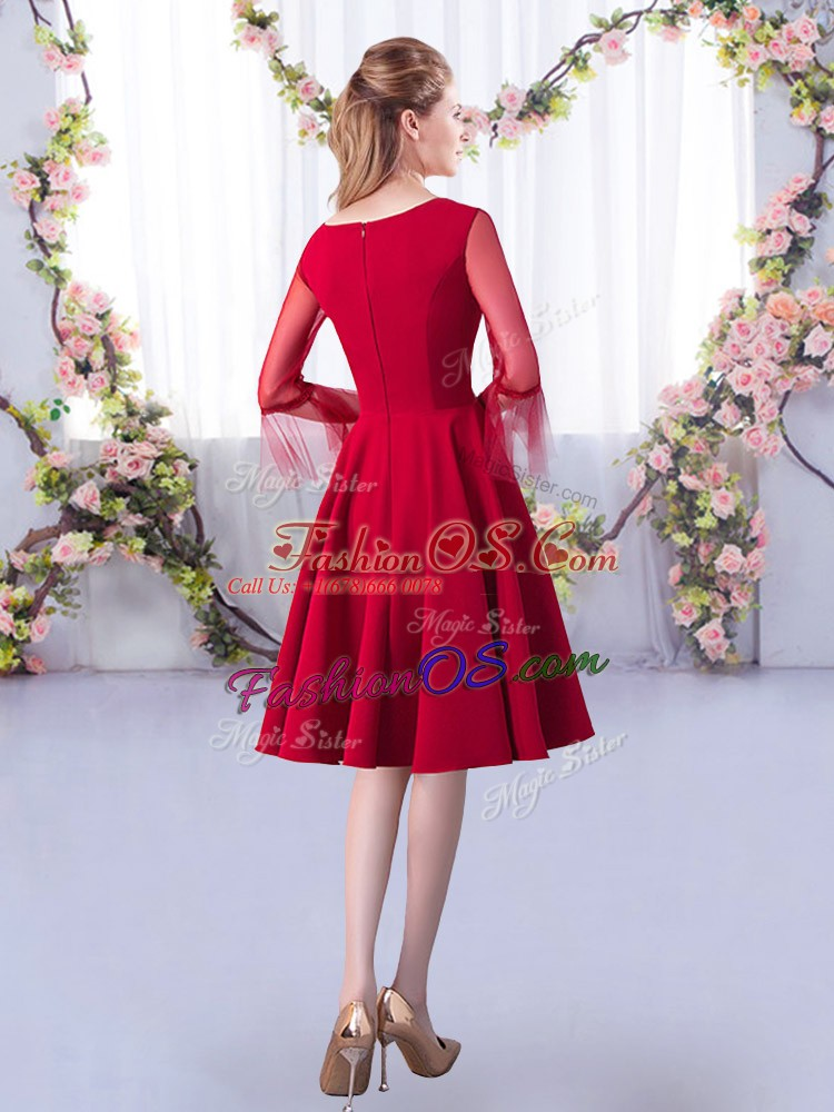 Red A-line Satin Scoop 3 4 Length Sleeve Ruching Knee Length Zipper Quinceanera Dama Dress
