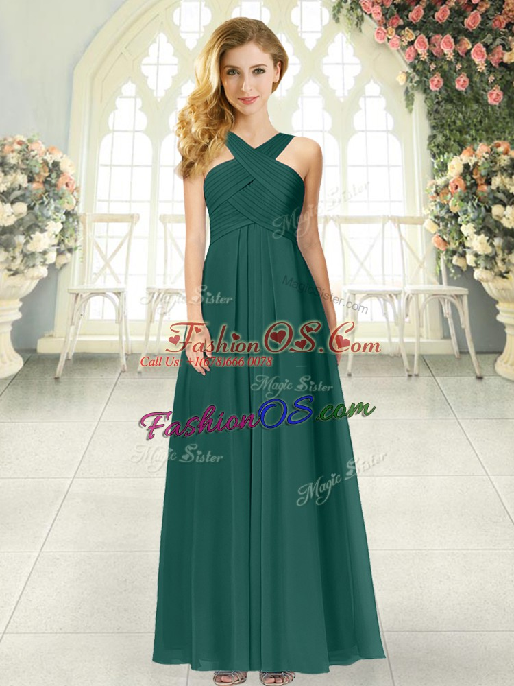 Sleeveless Zipper Floor Length Ruching Homecoming Dress