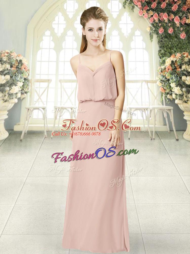 Cheap Pink Sleeveless Floor Length Ruching Zipper Prom Gown
