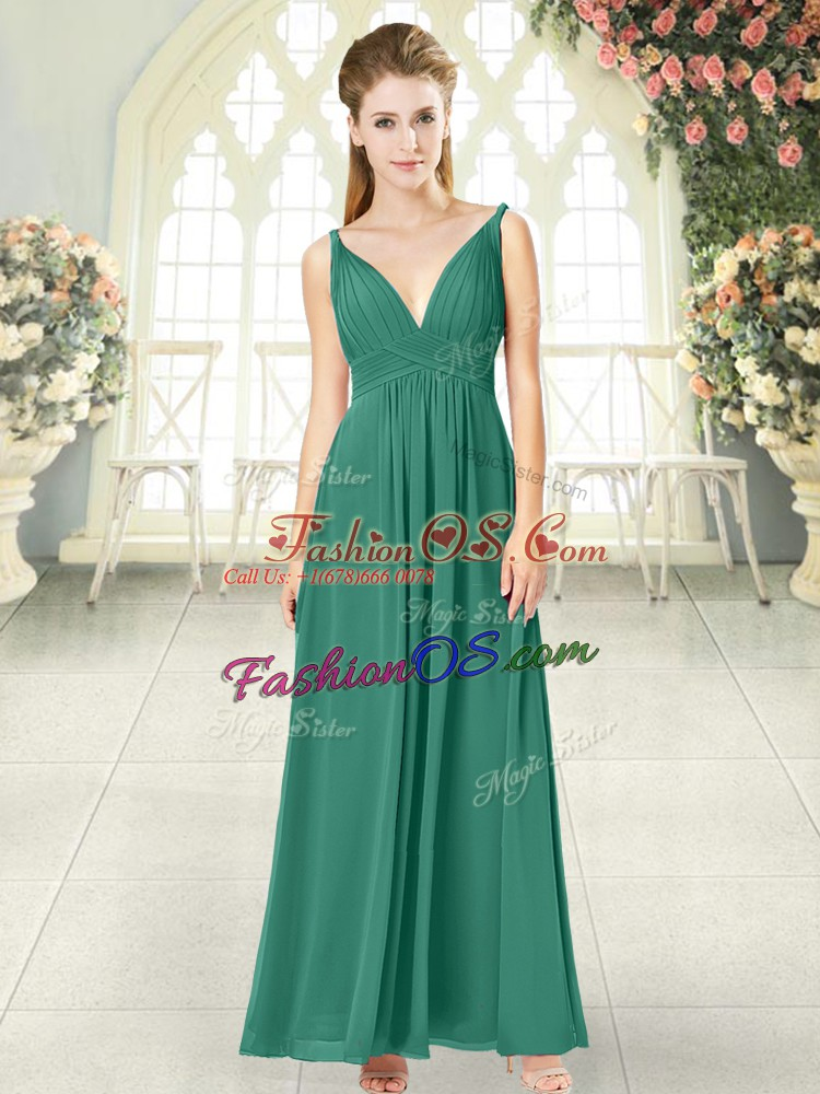 Glamorous Empire Prom Dress Green V-neck Chiffon Sleeveless Ankle Length Backless
