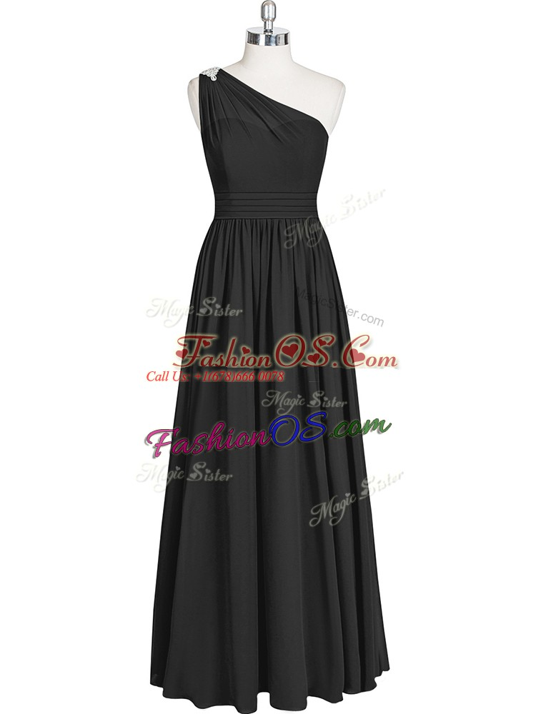 Enchanting A-line Prom Evening Gown Black One Shoulder Chiffon Sleeveless Floor Length Zipper