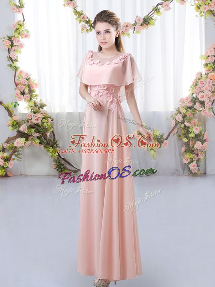 Pink Short Sleeves Floor Length Appliques Zipper Quinceanera Dama Dress