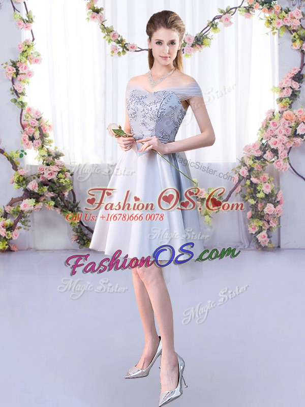 Knee Length Lace Up Dama Dress for Quinceanera Silver for Prom and Party and Wedding Party with Lace