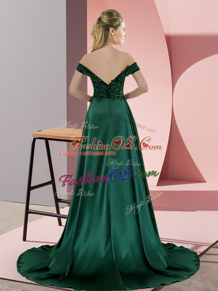 Off The Shoulder Sleeveless Sweep Train Backless Evening Dress Green Elastic Woven Satin