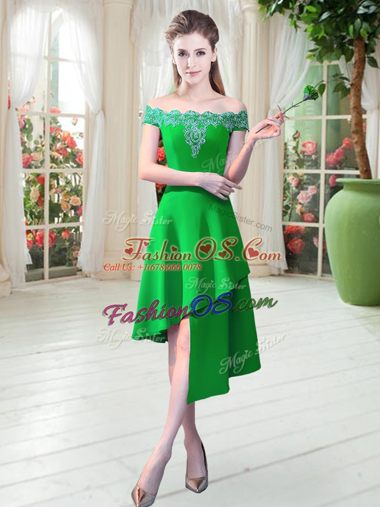 Most Popular Green A-line Off The Shoulder Sleeveless Satin Asymmetrical Zipper Appliques Prom Dresses