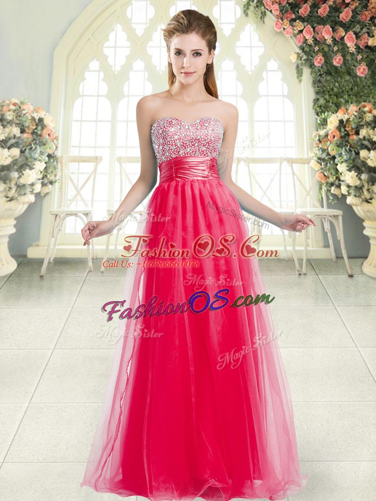 Coral Red A-line Sweetheart Sleeveless Tulle Floor Length Lace Up Beading