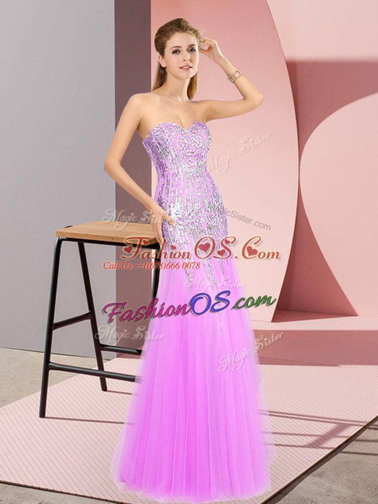 High End Floor Length Column/Sheath Sleeveless Lilac Homecoming Dress Zipper