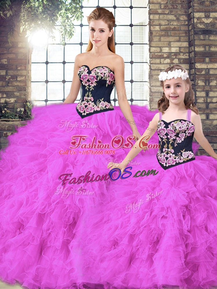 Designer Fuchsia Ball Gowns Tulle Sweetheart Sleeveless Beading and Embroidery Floor Length Lace Up 15 Quinceanera Dress