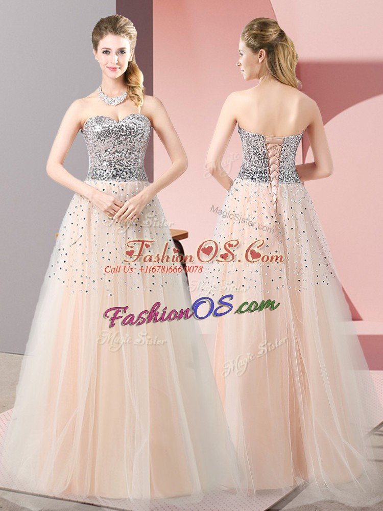 A-line Prom Evening Gown Peach Sweetheart Tulle Sleeveless Floor Length Lace Up